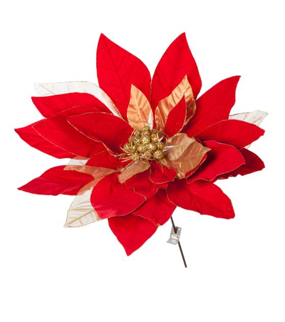 En Julstjärna på Pinne i Rött & Guld