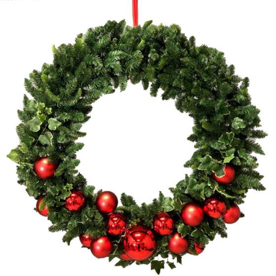 Dubbelsidig julkrans 120cm för juldekoration i butik